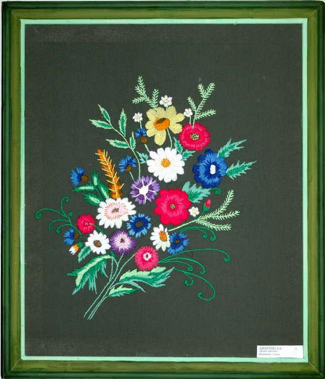 Букет цветов вышивка гладью